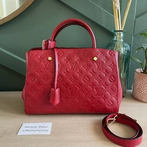 Louis Vuitton Montaigne MM Empreinte Red Bag